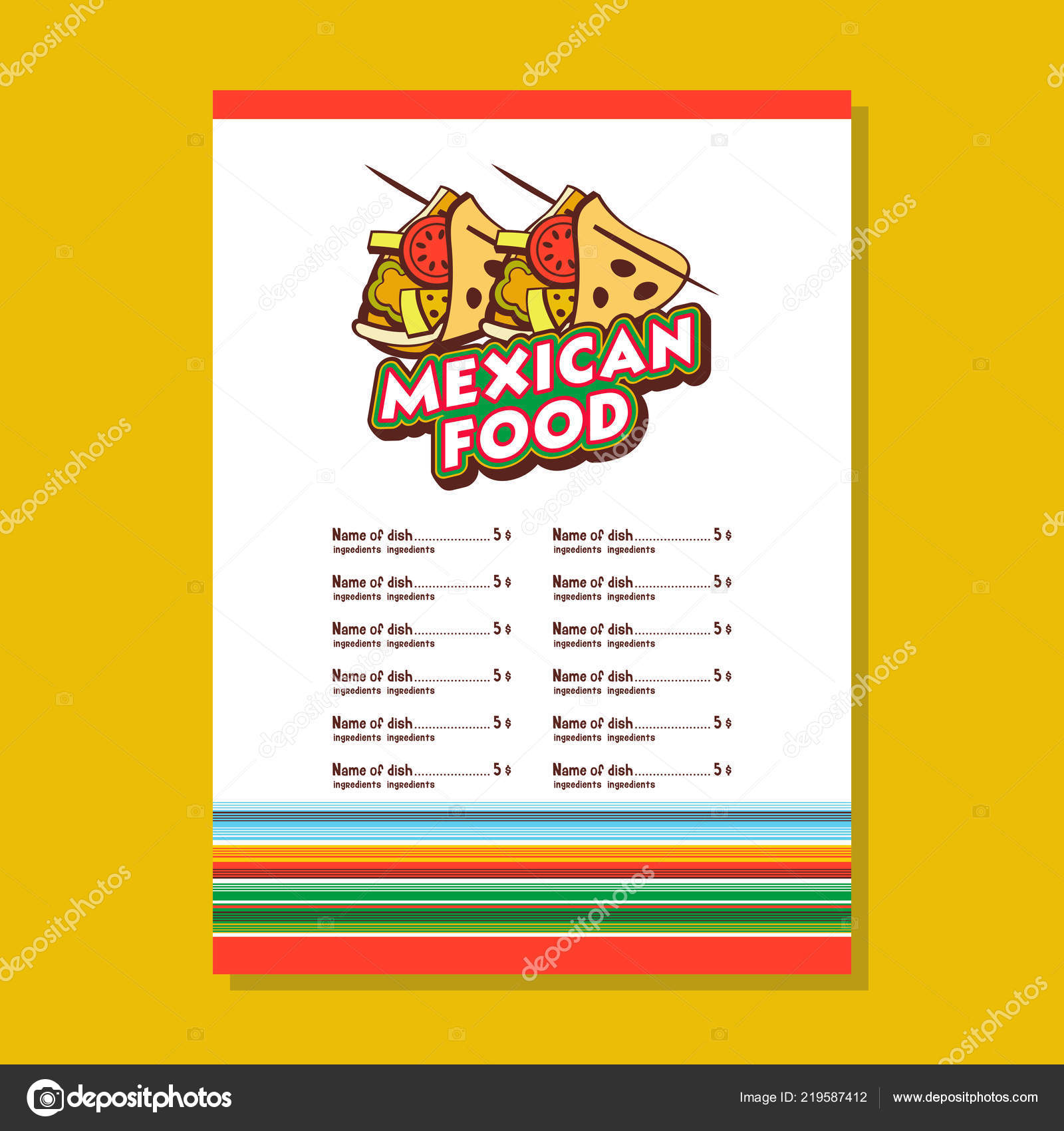 mexican restaurant menu template tacos national mexican dish fast