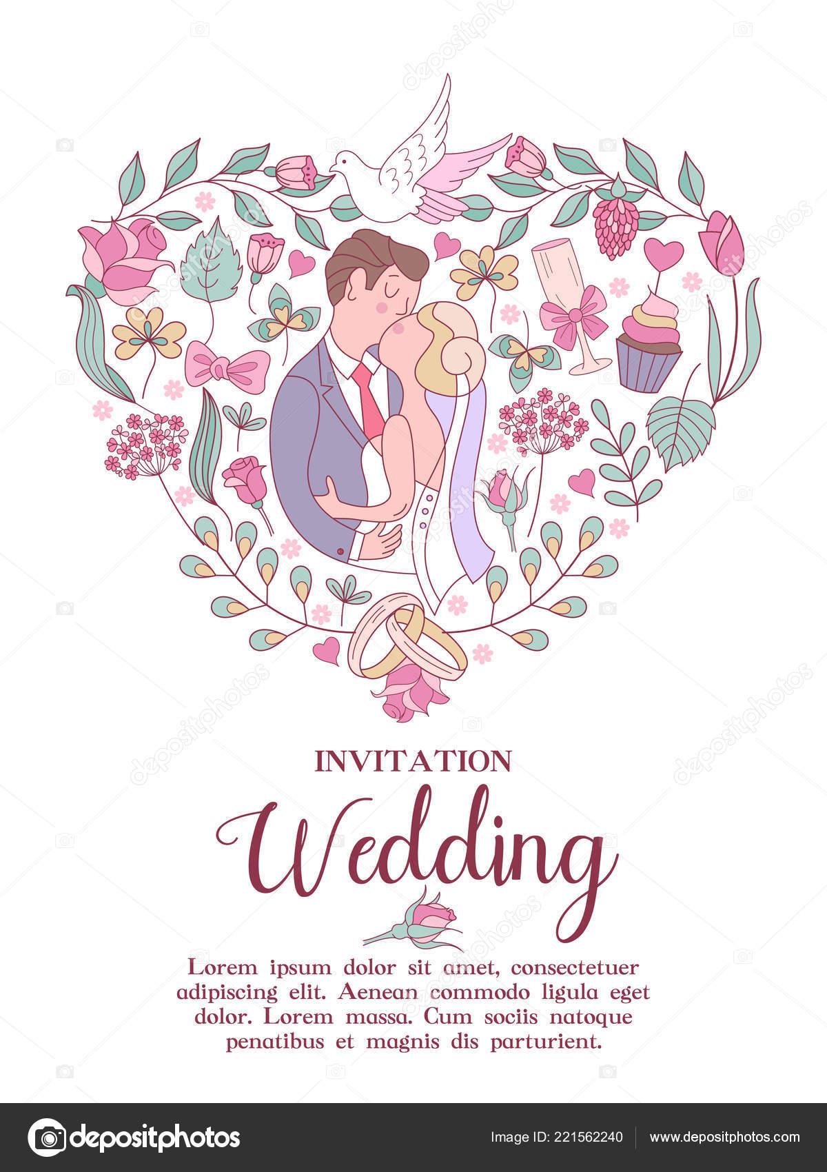 Wedding Invitation Beautiful Wedding Card Kiss Bride Groom Delicate