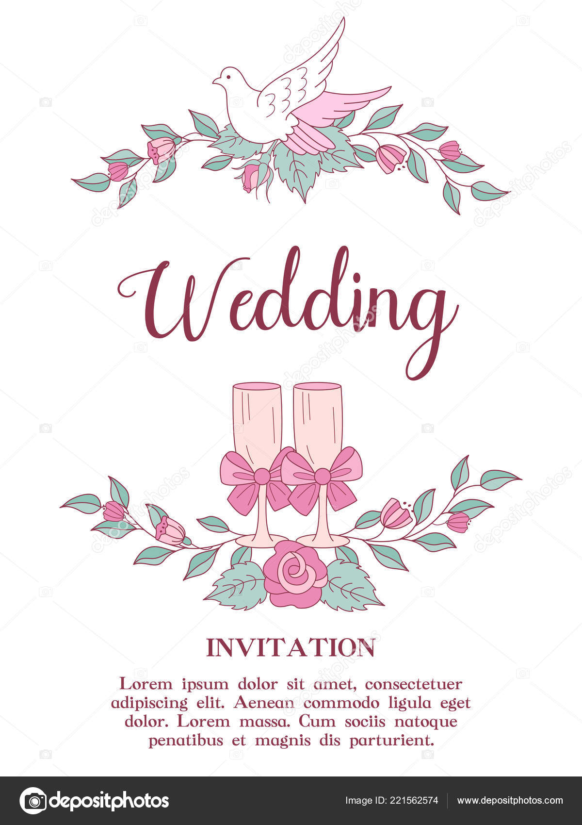 Wedding Invitation Happy Weddings Wreaths Pink Wedding Flowers White