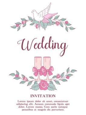 Wedding invitation. Happy weddings. Wreaths of pink wedding flowers with white doves. Two champagne glasses decorated with pink bows. Vector illustration with space for text.