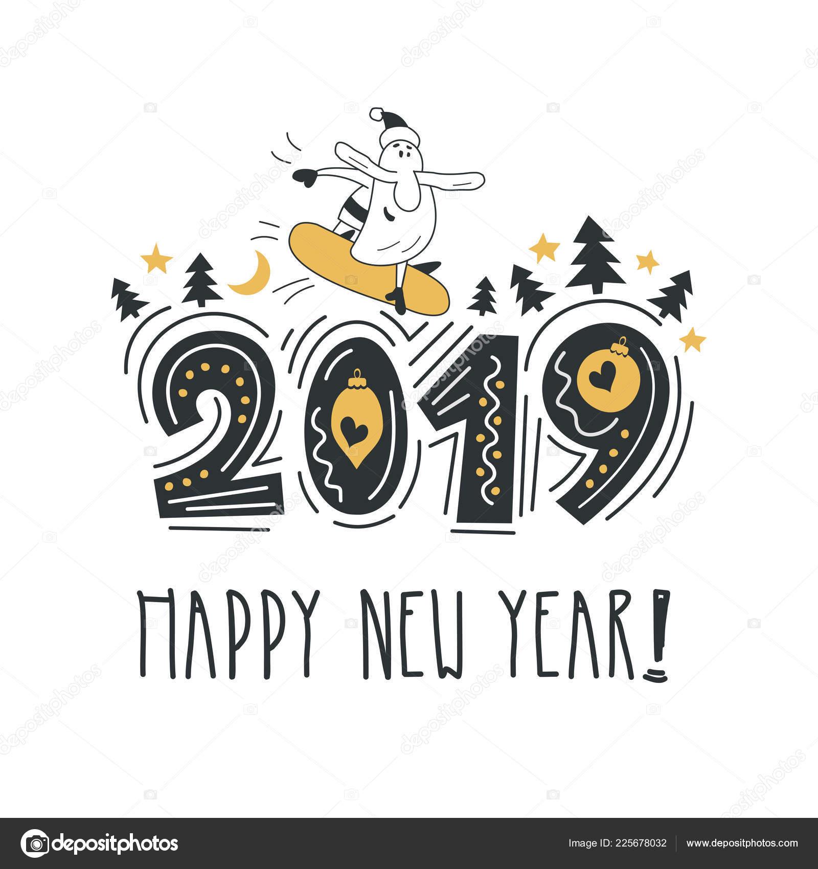 Frase Caligrafía Año Nuevo Feliz Brillante Moderno Letras
