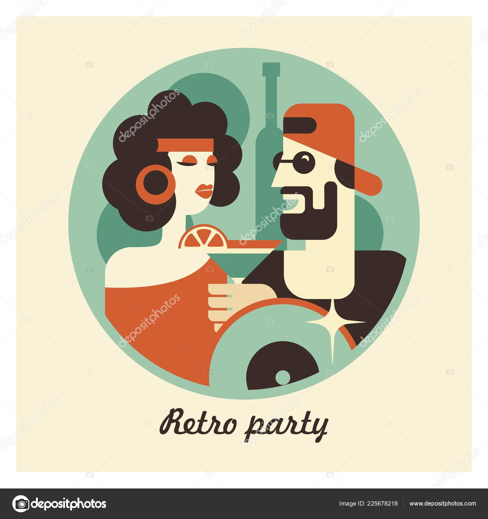 Retro Party Plakat Ilustracja Wektorowa Stylu Retro Ludzie
