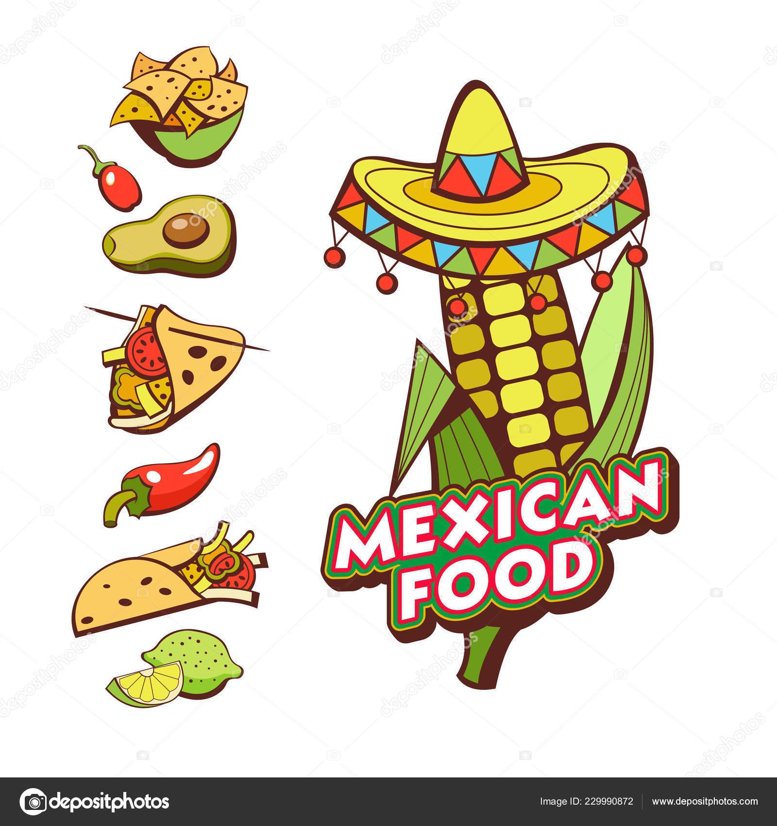 ec80d1ff5ee3e Maíz Sombrero Comida Mexicana Conjunto Platos Mexicanos Comida Rápida  Ilustración — Archivo Imágenes Vectoriales