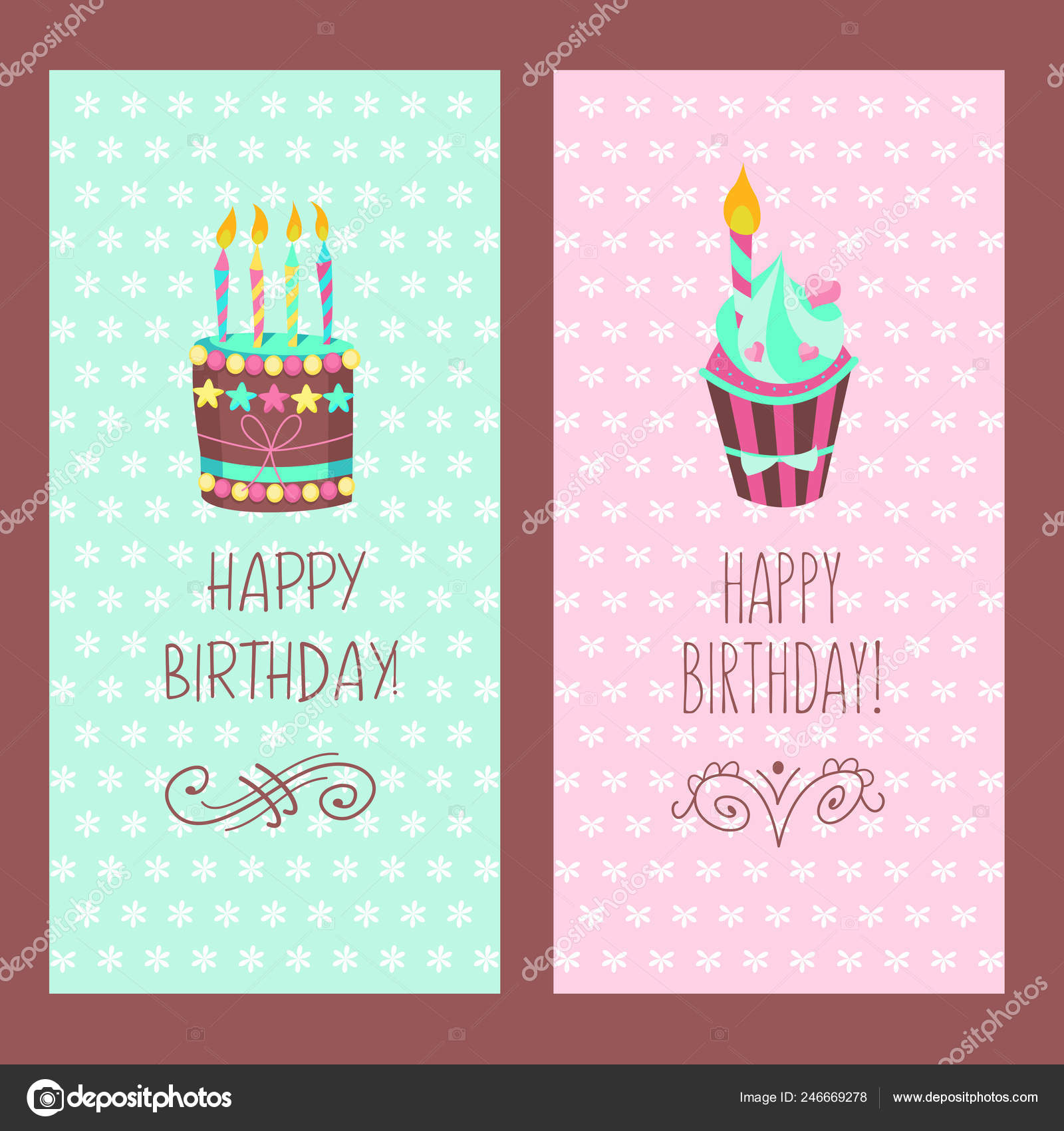 Congratulations On Your Birthday Beautiful Cute Cakes And Candlelight Hand Drawn Frames Vector Illustration