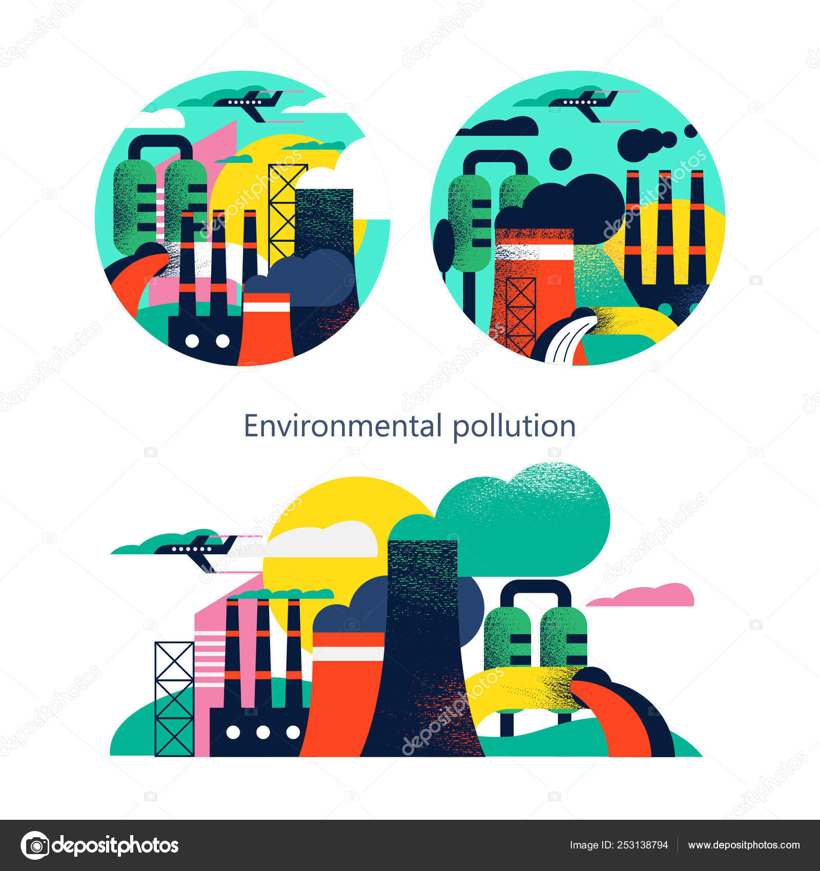 Pollution on earth with dirty smoke in background illustration Stock Vector  Image & Art - Alamy