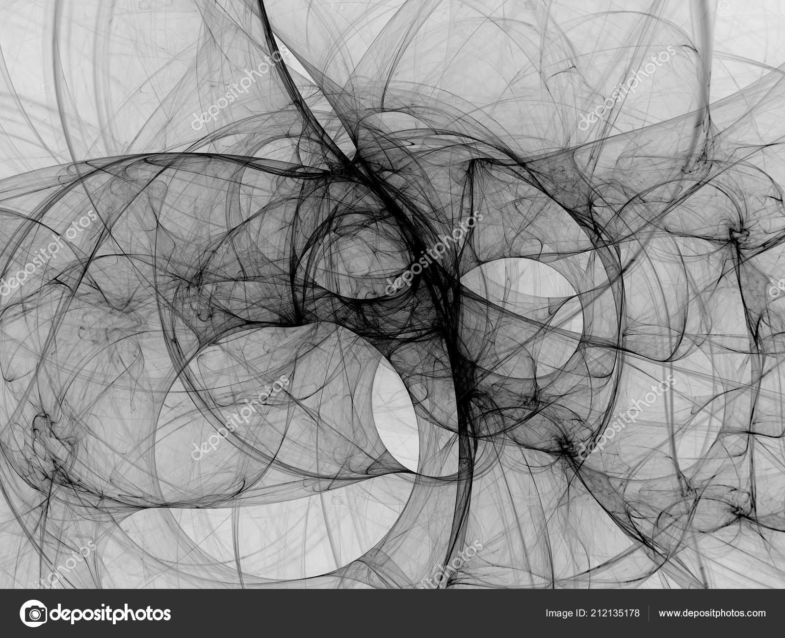 Illustration Rendu Fractal Abstrait Noir Blanc Fond
