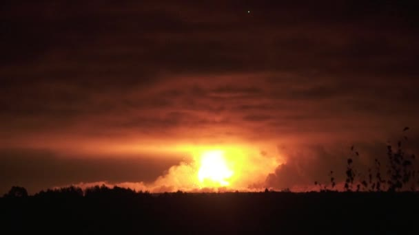 Nuclear explosion with a huge shock wave across the whole horizon