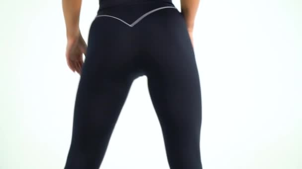 b0b4979d1f Athletic Woman Sexy Figure Black Yoga Pants Showing Posing Studio– stock  footage