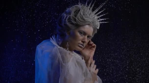 Ice kingdom, Snow Queen with an icicle crown posing with the snow on the background, slow motion
