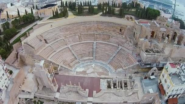 Roman Theatre and amazing cruise ship on the background, Cartagena, Spain