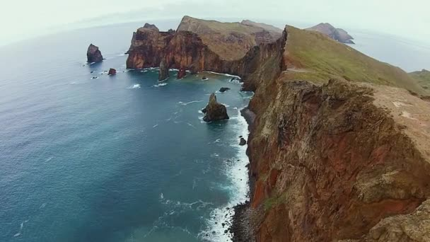 Beautiful nature, aerial shot of amazing cliffs of Madeira island on a rainy day