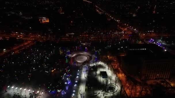 Pretty lighting of the park at night, aerial shot of the night city