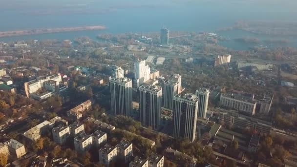 Gorgeous aerial shot of Dnipro city with the river on the background, Ukraine