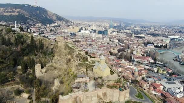 Stunning aerial footage of Tbilisi, high angle shot in 4k