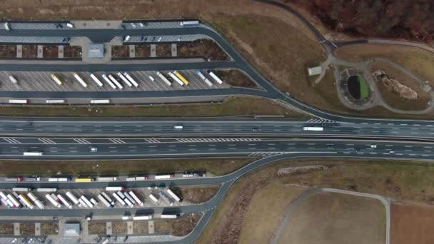 Top view on the truck parking and the highway, Germany in 4k