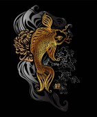 Photo Koi carp and chrysanthemums - Asian spiritual symbols. Goldfish rises in silver waves upwards, Japanese hieroglyph - Koi. It can be used for tattoo and embossing or print for interior. T-shirt design.