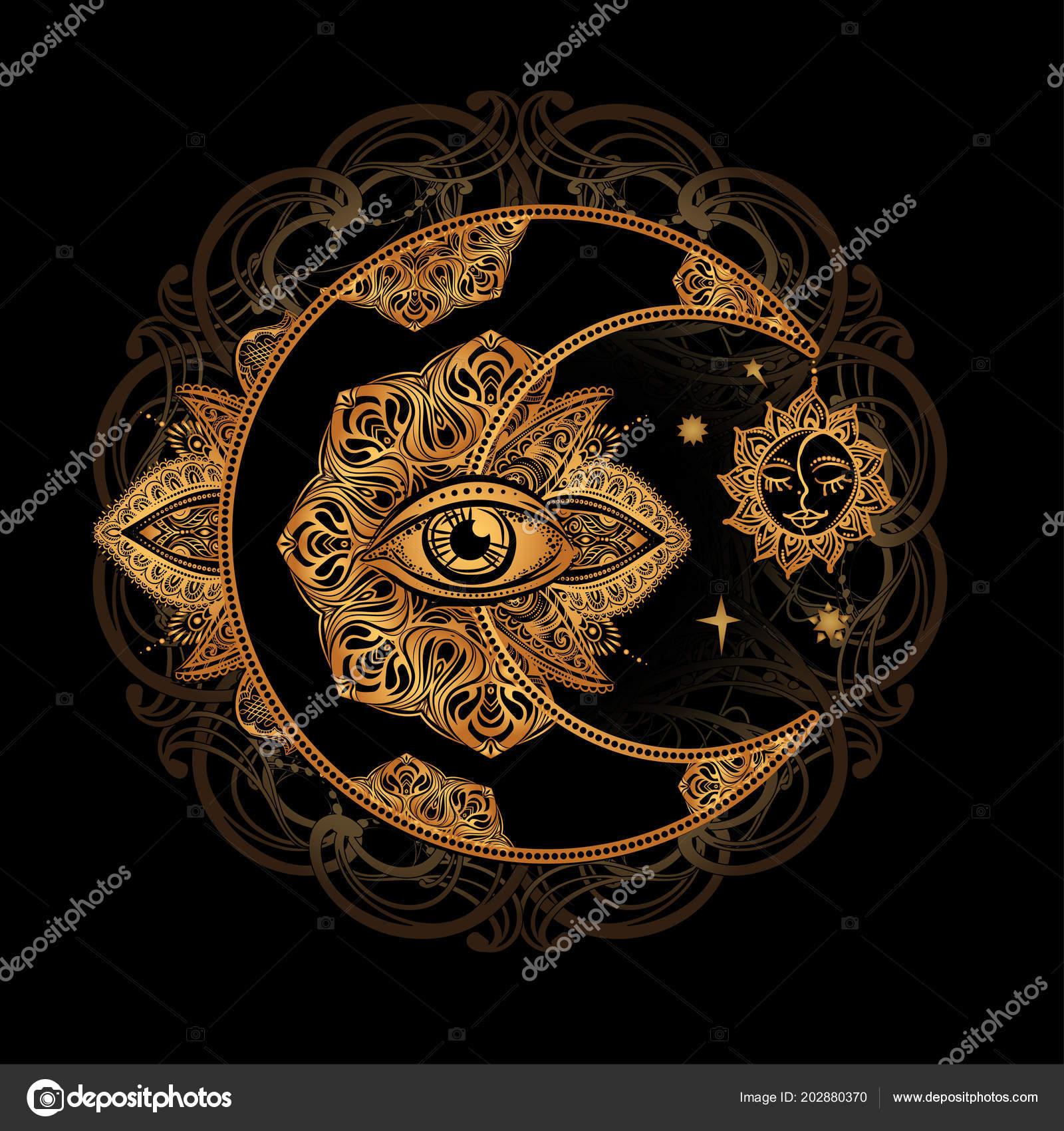 Soleil Lune Alchimie Image Vectorielle Yulianas C 202880370