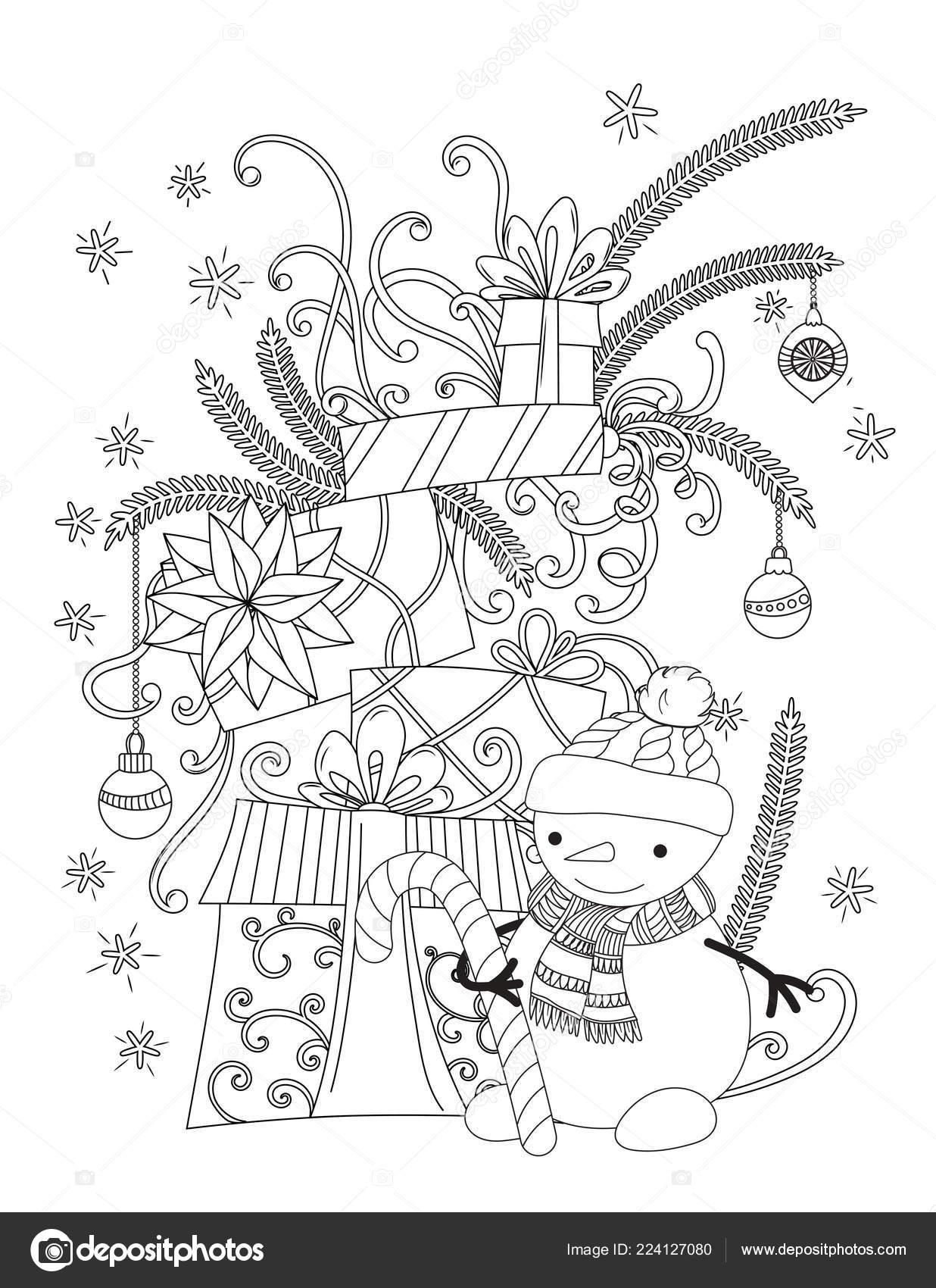 kerstmis kleurplaat stockvector 169 elinorka 224127080
