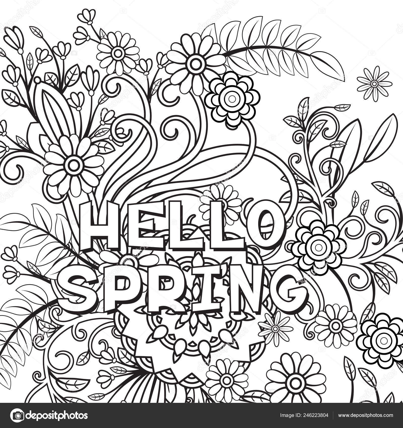 Spring Coloring Page - Free Printable - AllFreePrintable.com | 1700x1600