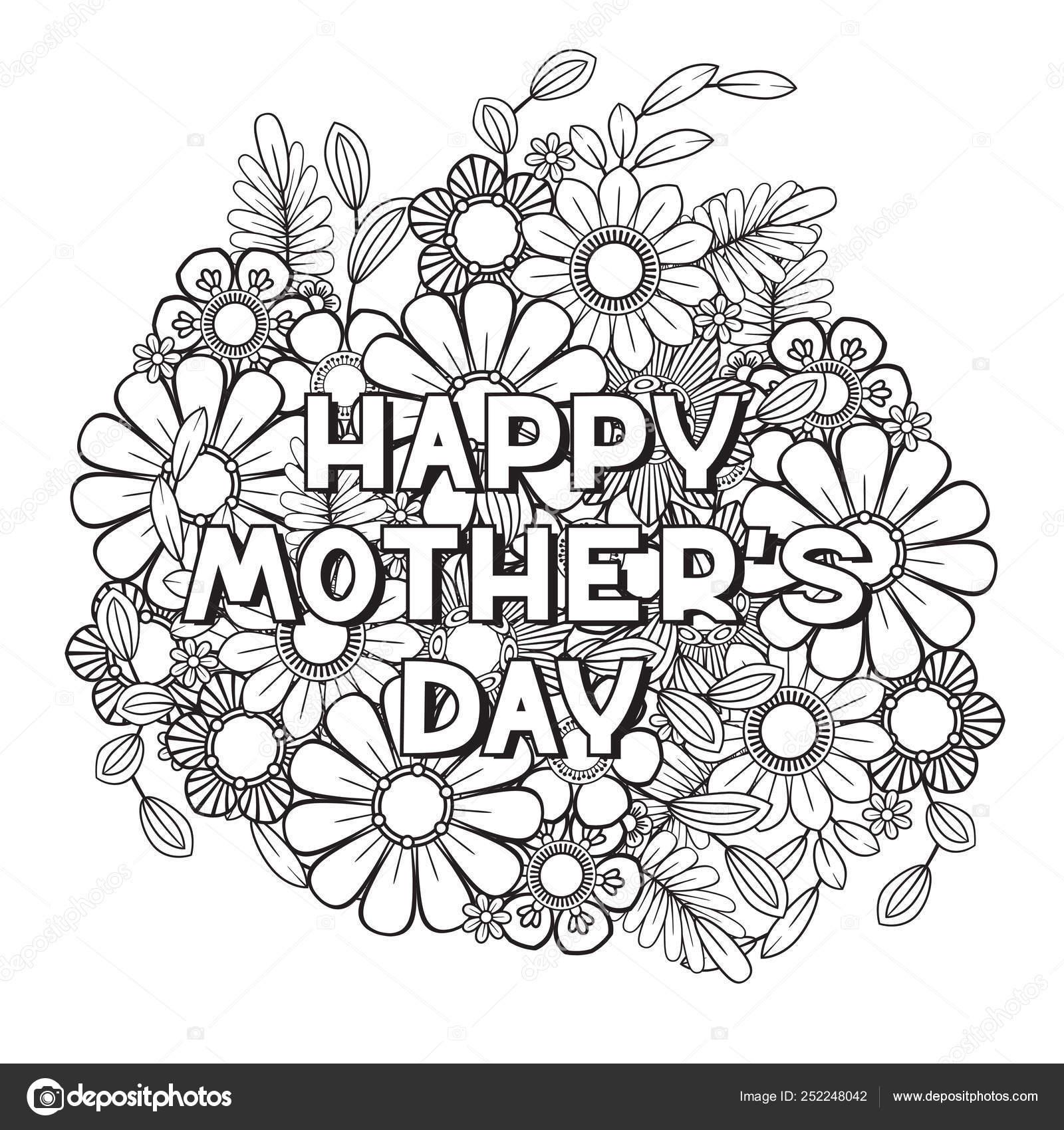 Página Para Colorear Del Día De Madres Feliz Vector De Stock