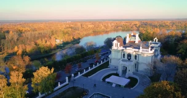 Autumn Embankment and an old noble house. Aerial photography 01