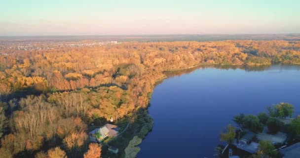 Autumn Embankment and an old noble house. Aerial photography 04