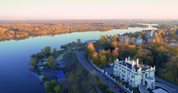 Autumn Embankment and an old noble house. Aerial photography 07