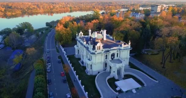 Autumn Embankment and an old noble house. Aerial photography 08