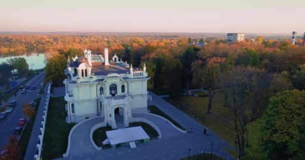 Autumn Embankment and an old noble house. Aerial photography 09