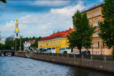 View of the city landscape: Kryukov canal, bridge and St. Nicholas Cathedral. Russia, Saint-Petersburg