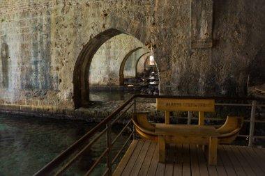 Shipyard Tersane, Alanya historical dockyard. The building with arches on the inside. Alanya peninsula, Antalya district, Turkey, Asia