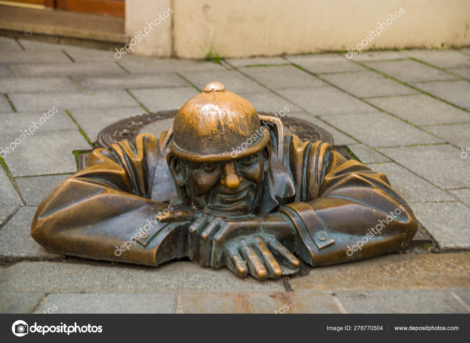 Bratislava Slovakia Bronze Sculpture Of Plumber In