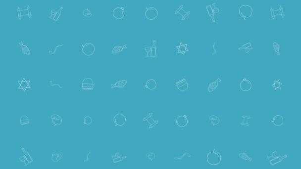 Ros hásáná holiday flat design animáció háttér hagyományos ikon (operátor). az alfa-csatornát hurok.