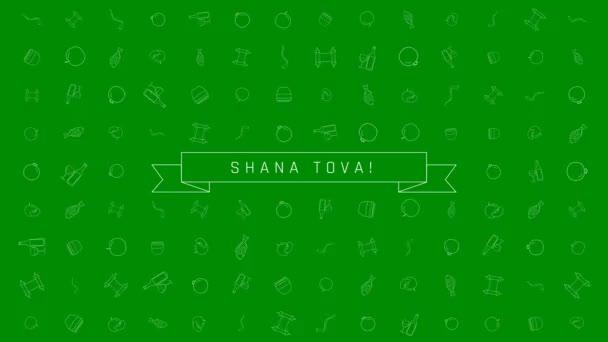 Ros hásáná holiday flat design animáció háttér a hagyományos szerkezeti ikon szimbólumok a szöveg angol Shana Tova jelentése van egy jó év. az alfa-csatornát hurok.
