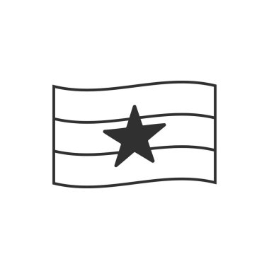 Myanmar flag icon in black outline flat design. Independence day or National day holiday concept.