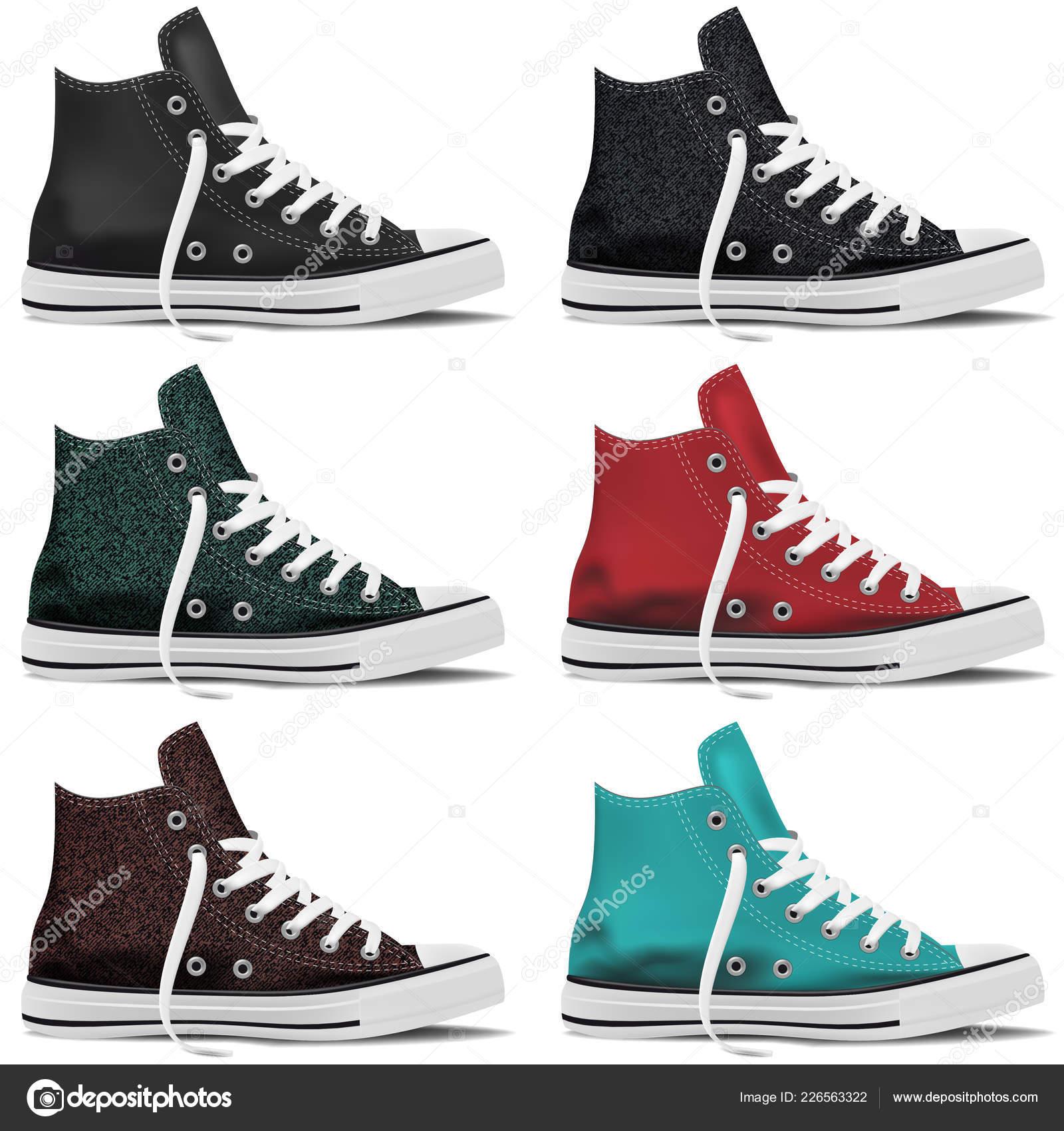 f8e34ff90bf26 Diseño Colección Zapatillas Realista Imitan Para Arriba Sobre Fondo Blanco  — Vector de stock