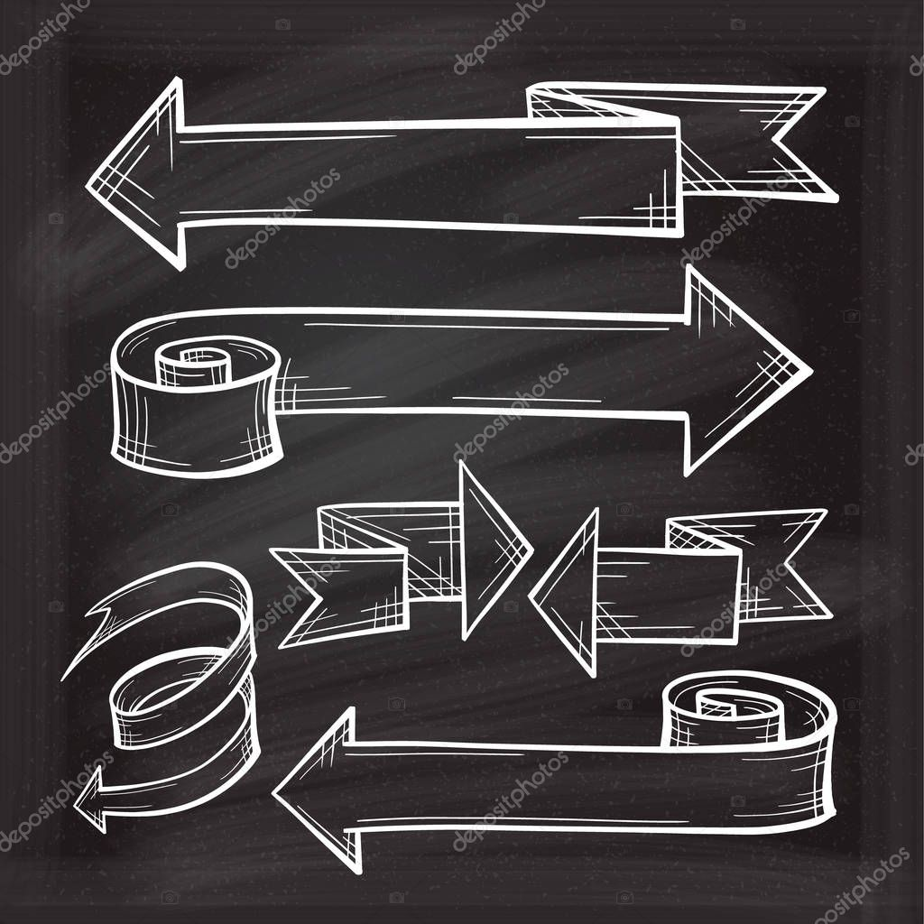 White chalk vector sketches of twisted arrows