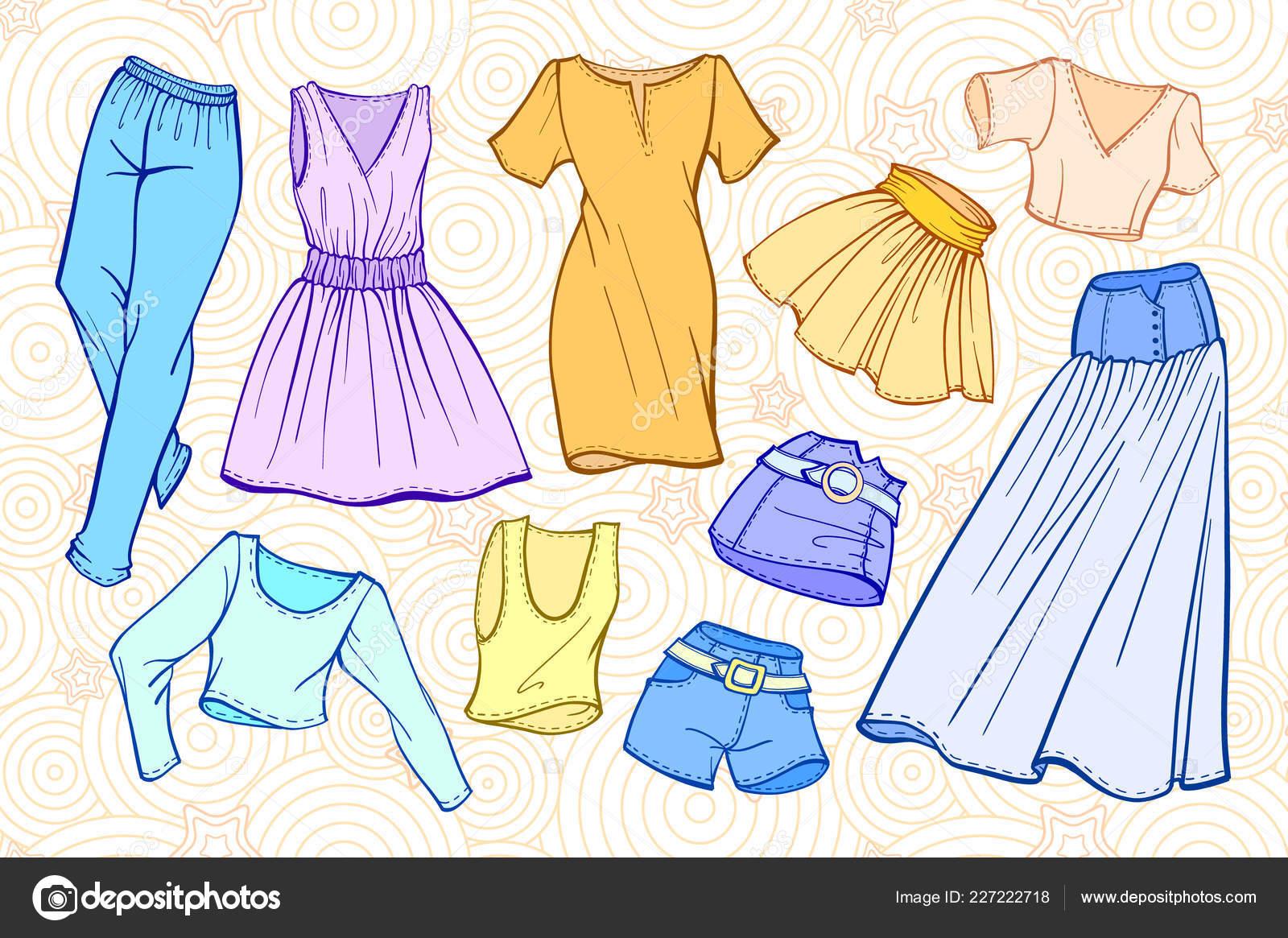 9313667460efb8 stock illustration. Vector Fashion Set Woman Clothes Dresses Skirts Jeans  Shorts Shirts — Stock Vector