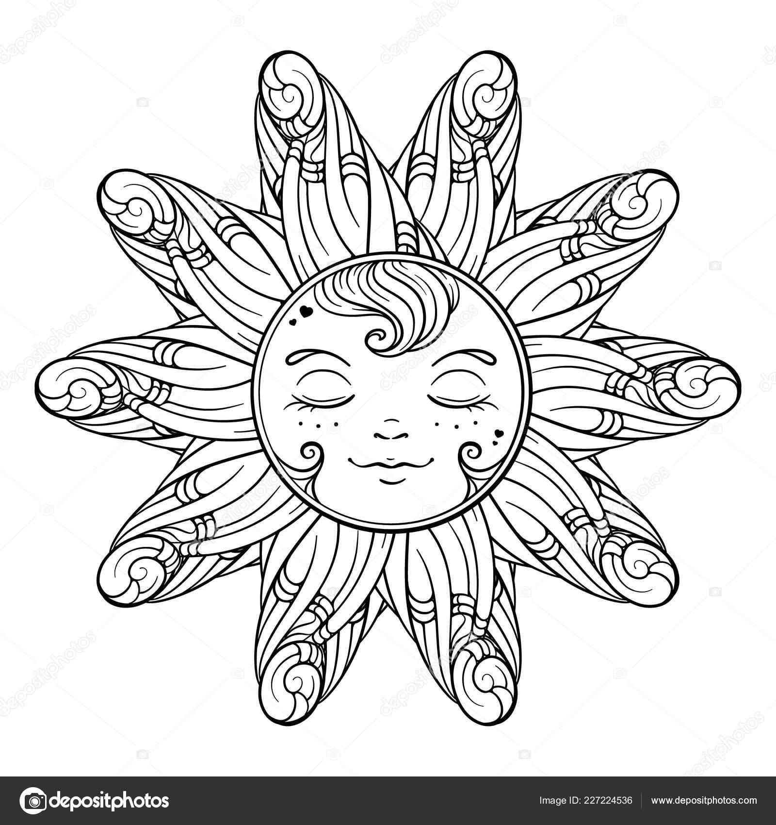 Siyah Beyaz Süs Güneş Sayfa Boyama Stok Vektör Sablegear 227224536
