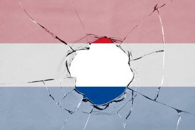 Flag of Netherland on glass