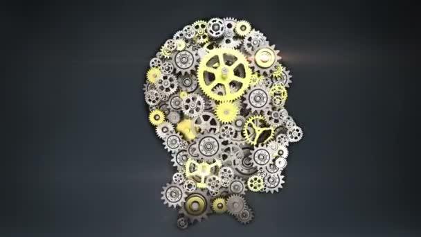 Acél fogaskerekek, hogy emberi fej alakja. emberi intelligencia.