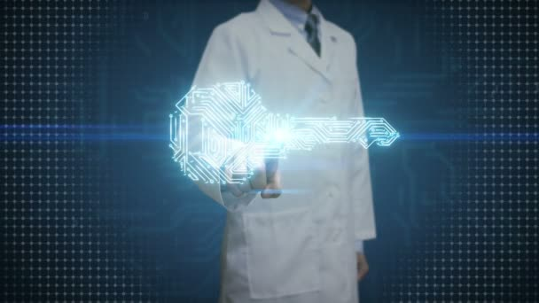 Lékař se dotýká digitální displej, tvar klíče, obvodové desky světlá linie, bezpečnost, hledání řešení, bezpečnostní technologie na dlaních