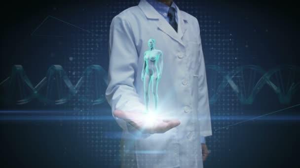 Pane doktore, otevřené dlaně, zvětšení ženské lidské tělo skenování vnitřní orgány, trávicí systém. Modré světlo X-ray