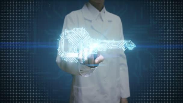 Ženský lékař se dotýká digitální displej, tvar klíče, obvodové desky lehké tratě, bezpečnost, najít řešení, bezpečnostní technologie na dlaních