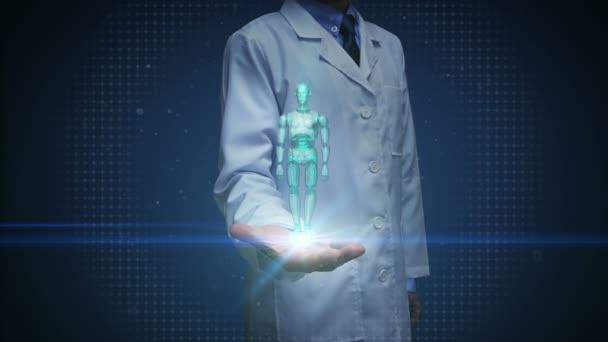 Doktor Open Palm, skenování otáčejícího se tělesa 3D robota. Umělá inteligence. technologie robotů.