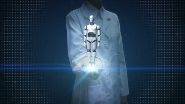 Female doctor open palm, Rotating 3D robot cyborg body. Artificial intelligence.robot technology.