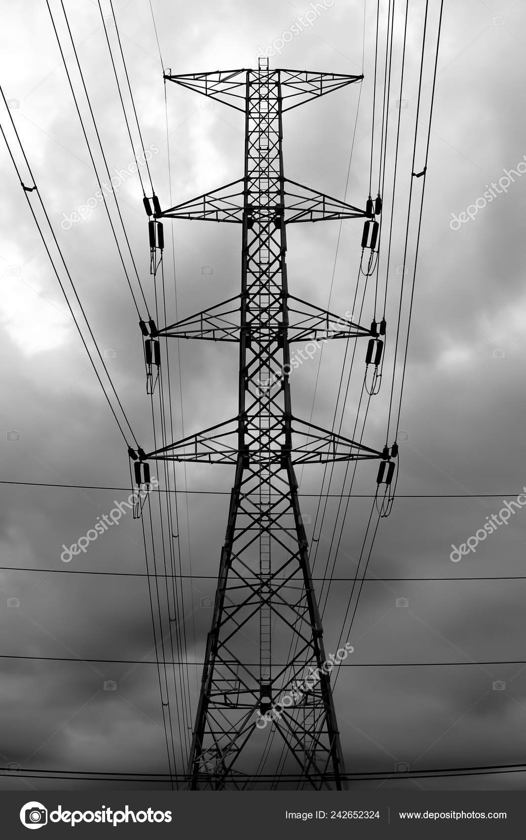 Electricity Transmission Pylon High Voltage Transmission Tower Silhouetted Black White Stock Photo Image By C Sarawutk 242652324