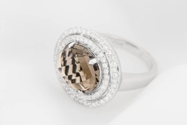 White Gold Ring With Diamonds And Smoky Topaz