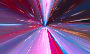 Flying Through Wormhole Tunnel Or Abstract Energy Vortex
