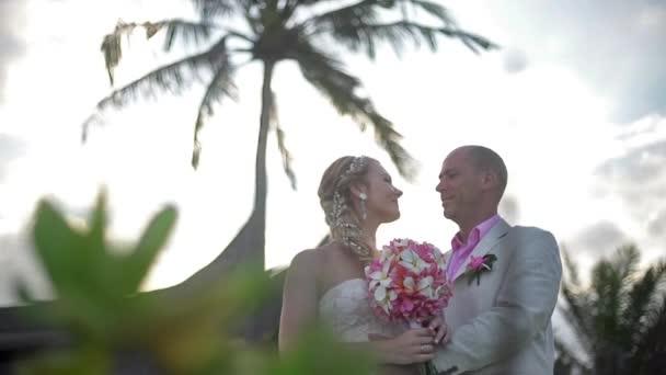 Wedding couple just married at Hawaii. Wedding ceremony luxury villa
